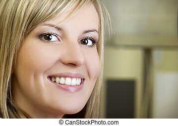 Dental visit - Beautiful girl is showing her white teeth at...