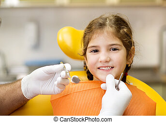 Dental visit - Little girl is having her teeth checked by ...