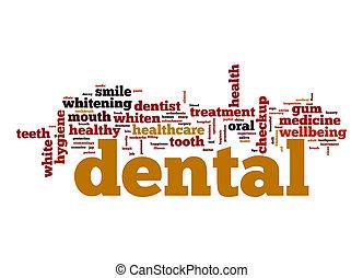 dental, wort, wolke