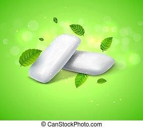 dentale, breath., gengiva, vettore, sfondo verde, fresco, salute, menta, masticazione