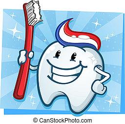 dentale, dente, cartone animato, carattere