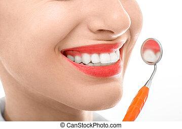 dentale, donna, sfondo bianco, specchio
