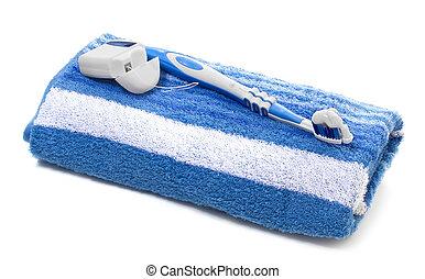 dentale floss, en, tandenborstel, baddoek, op, een, witte...
