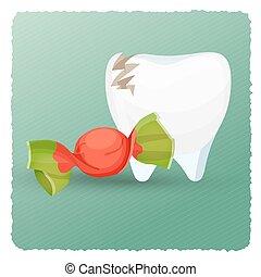 dentale, illustrazione, dente, vettore, caramella, cura