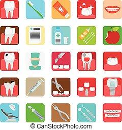 dentale, klinik, tjenester, iconerne
