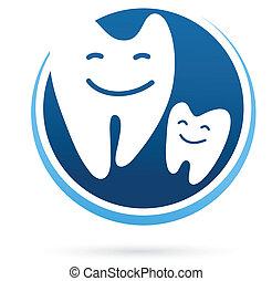 dentale, -, klinik, vektor, tænder, smile, ikon