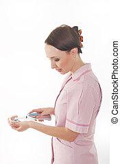dentale krankenschwester, gebiss, putzen