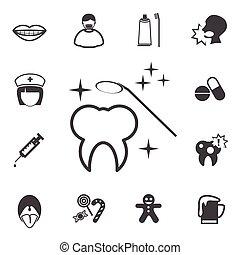 dentale, sæt, iconerne