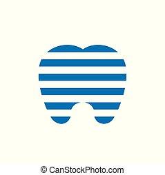 dentale, striber, illustration, tand, linjer, vektor, digitale, logo, horisontale, konstruktion, ikon