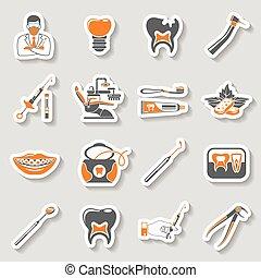 dentale, tjenester, mærkaten, to, farve, iconerne, sæt