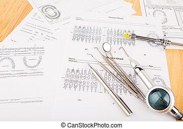 dentale værktøjer, og, udrustning, på, dentale, kort