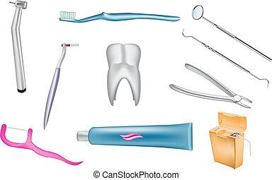 dentale, vettore, icone