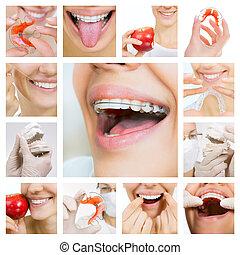 dentale zorg, collage, (dental, services)