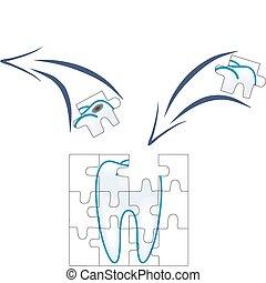 dentale zorg, van, tand, stuk