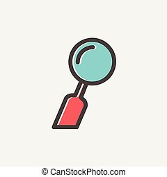 dentaler spiegel, dünne linie, ikone