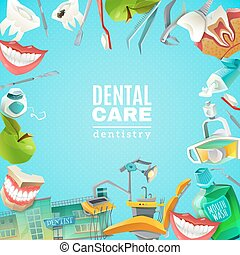 Dentals Care Flat Frame Background poster - Complete mouth...