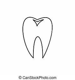 dente, ícone, esboço, estilo