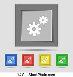 dente, ajustes, cogwheel, engrenagem, mecanismo, ícone, sinal, ligado, a, original, cinco, colorido, buttons., vetorial