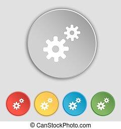 dente, ajustes, cogwheel, engrenagem, mecanismo, ícone, sinal., símbolo, ligado, cinco, apartamento, buttons., vetorial