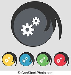 dente, ajustes, cogwheel, engrenagem, mecanismo, ícone, sinal., símbolo, ligado, cinco, colorido, buttons., vetorial