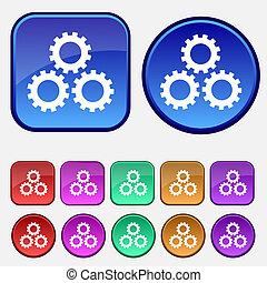dente, ajustes, sinal, icon., cogwheel, engrenagem, mecanismo, símbolo., jogo, buttons., vetorial