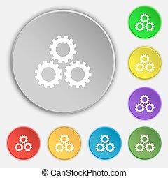 dente, ajustes, sinal, icon., cogwheel, engrenagem, mecanismo, símbolo., símbolos, ligado, oito, apartamento, buttons., vetorial