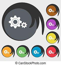 dente, ajustes, sinal, icon., cogwheel, engrenagem, mecanismo, símbolo., símbolos, ligado, oito, colorido, buttons., vetorial