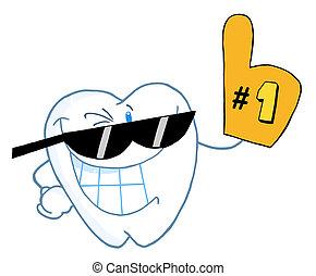 dente, carattere, numero, cartone animato