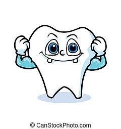 dente, cartone animato, divertente