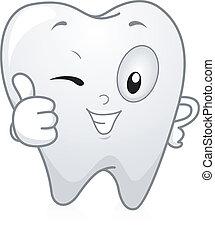 dente, cima, polegares