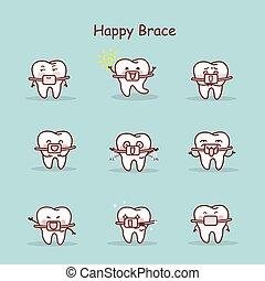 dente, cinta, desgaste, caricatura