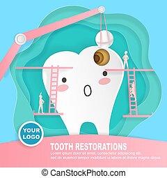 dente, com, decadência, problema