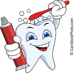 dente, com, escova, e, pasta dente