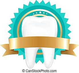 dente, com, etiqueta