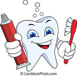 dente, com, pasta dente, e, escova