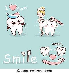 dente, com, saúde, conceito