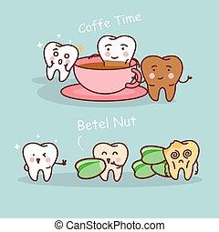 dente, com, saúde, problema