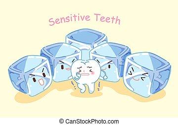 dente, con, sensibile, problema
