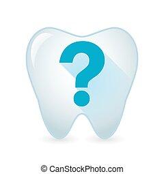 dente, domanda, icona, segno