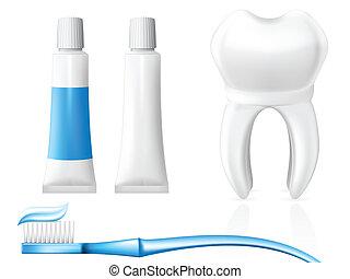 dente, e, higiene dental, equipamento