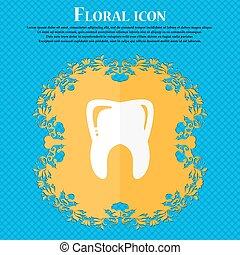 dente, icon., floral, apartamento, desenho, ligado, um, azul, abstratos, fundo, com, lugar, para, seu, text., vetorial