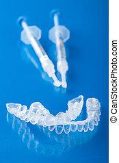dente, indivíduo, bandeja, whitening