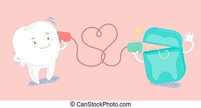 dente, lattina, cartone animato, telefono, parlante
