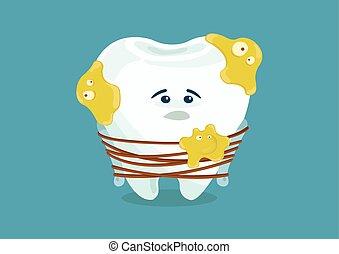 dente, muitos, bactérias, triste