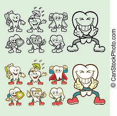 dente, personagem, caricatura, ícones