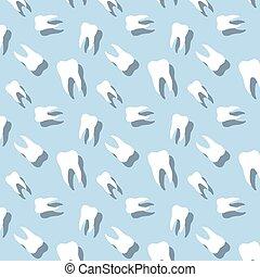 dente, seamless, com, sombra, odontologia, padrão