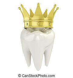 dente, singolo, corona dorata