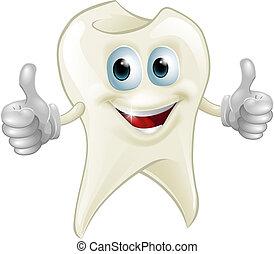 dente, sorrindo, mascote