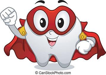 dente, superhero, mascotte