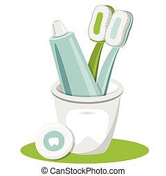 dente, toothpaste, fio dental, escova de dentes